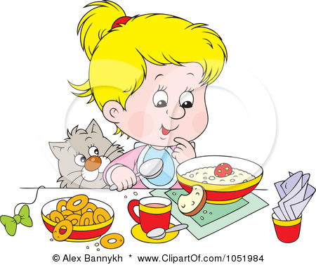 -Clip-Art-Illustration-Of-A-Cat-Watching-A-Blond-Girl-Eat-BreakfastKids Eating Breakfast At School Clipart